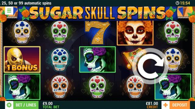 Sugar Skull Spins online slots at Bonus Boss Online Casino - in game screenshot