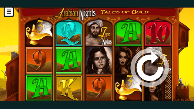 Arabian Nights Tales Of Gold online slots at Bonus Boss Online Casino - in game screen shot