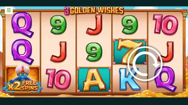 3 Golden Wishes online slots at Bonus Boss Online Casino - in game screen shot