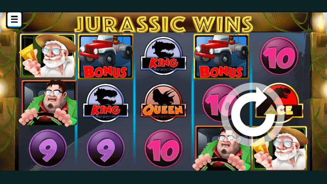 Jurassic Wins online slots at Bonus Boss Online Casino - in game screen shot