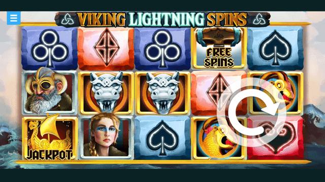 Viking Lightning Spins online slots at Bonus Boss Online Casino - in game screen shot