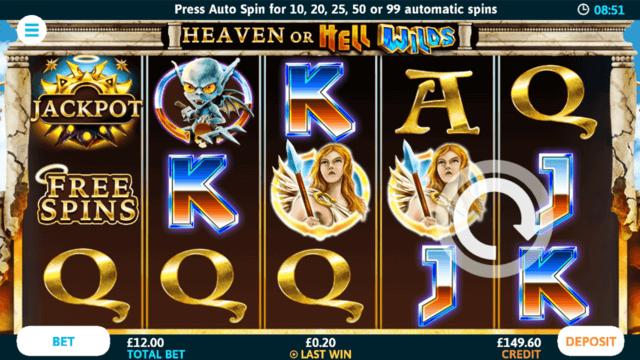 Heaven Or Hell Wilds online slots at Bonus Boss Online Casino - in game screenshot