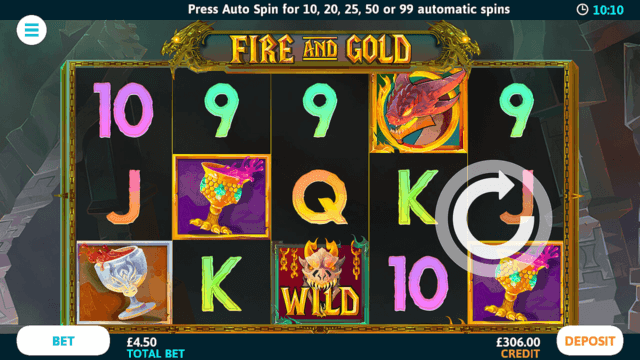 Fire And Gold online slots at Bonus Boss Online Casino - in game screenshot