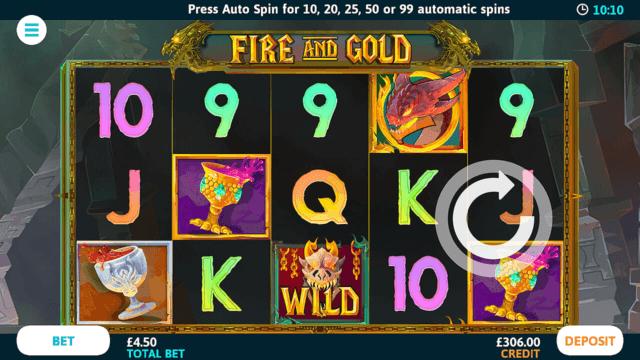 Fire And Gold online slots at Bonus Boss Online Casino - in game screenshot