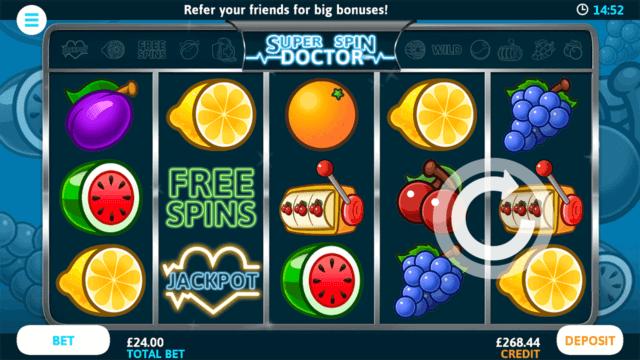 Super Spin Doctor online slots at Bonus Boss Online Casino - in game screenshot