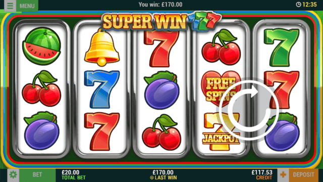 Super Win 777 online slots at Bonus Boss Online Casino - in game screenshot