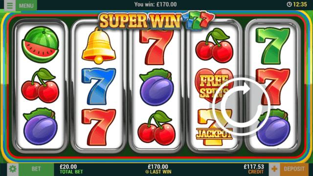 Super Win 777 online slots at Bonus Boss Online Casino - in game screenshot