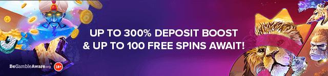 Bonus Boss Casino Deposit Bonus - Up to 300% Deposit Boost & Up to 100 free spins await! - desktop subpage