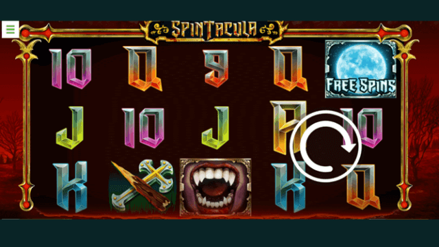 Bonus Boss Casino's Spintacula online slots in-game screenshot with Vampire elements