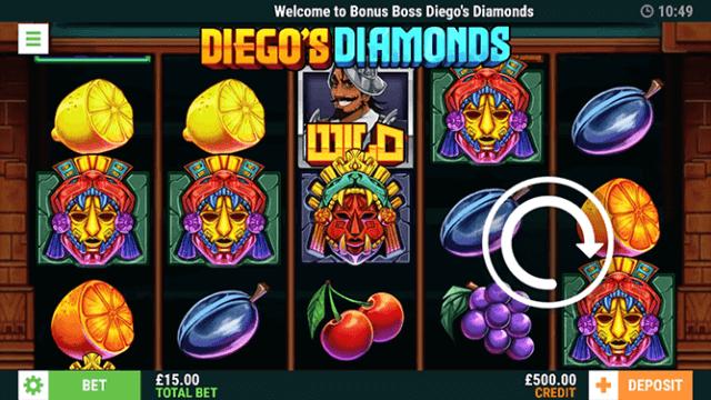Diego's Diamonds Online Slots in game screenshot - Bonus Boss UK Casino