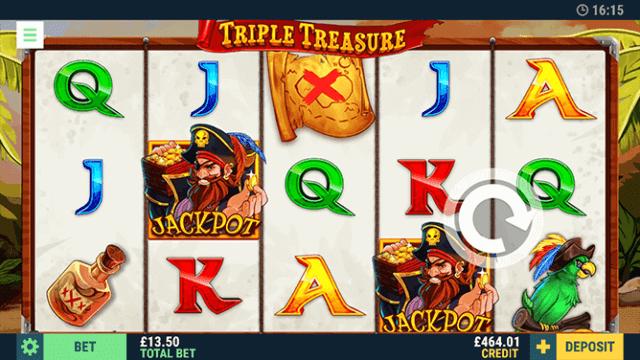 Triple Treasure online slots in game screenshot